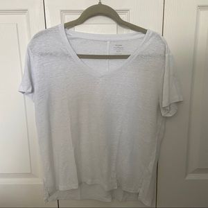 Simple white V-neck